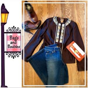 TORY BURCH Ane Embellished Jacket, SZ 4 | NWT